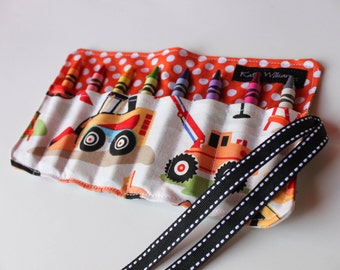 Construction Truck Crayon Roll Travel Organizer-Crayon Holder-Boy Christmas Gift-Boy Birthday Gift-Boy Stocking Stuffer-Kid Travel Accessory