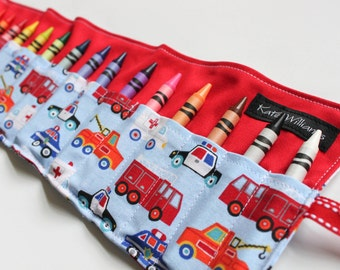 Police Car Fire Truck Emergency Vehicle Crayon Roll-Easter Basket Gift-Boy Birthday Gift-Kid Travel Toy-Kid Christmas Gift-Boy Toy-Accessory