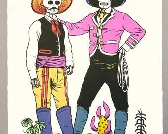 """Mexican Skeleton Cowboys linocut print """"Vaqueros"""""""
