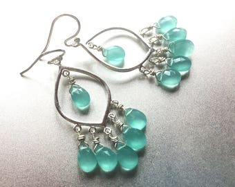 Aqua Ocean Blues Earrings, Sterling Silver with Aqua Blue Chalcedony, bright blue gemstone earrings