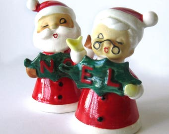 Vintage Christmas Santa and Mrs Claus BELLS / Kelvin's Japan / NOEL Ceramic Figurine - NOEL Christmas Collectible