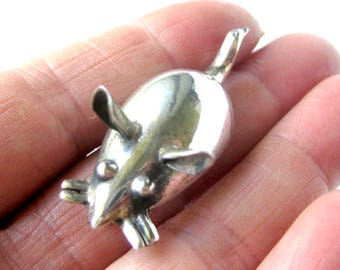"Sterling Silver Mouse Brooch / Vintage Jewelry Silver Mouse Pin / 2"" Long"