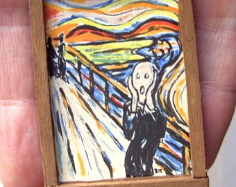 Edvard Munch Original Painting - OOAK - 1/12th Scale Dollhouse Miniature Painting - The Scream