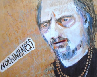 EMERY original painting 'alan watts looks into nothingness' self taught spiritual life something outsider folk