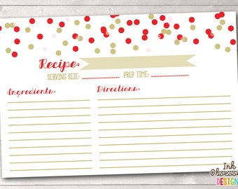 Instant Download Recipe Cards Red Gold & Pink Polka Dot Confetti Printable PDF