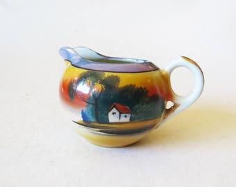 Mini Japanese Pitcher // Small Ceramic Cream Pitcher // Vintage Home Decor