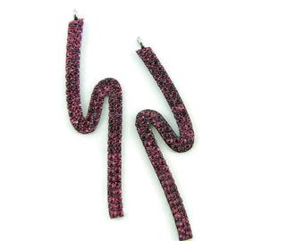 Pair of Silver-tone S-shaped Facing Long Charms Fuschia Rhinestone Fuschia Epoxy