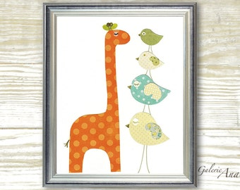 Baby Room Nursery Art - Children Decor - nursery giraffe - kids giraffe - nursery birds - kids birds - Taller than You print