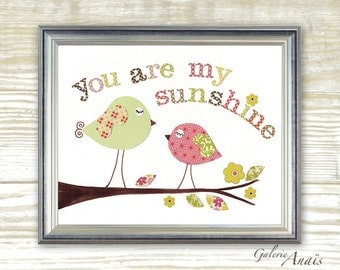 Kids wall art - baby nursery decor - nursery wall art - children wall art - kids bird - pink green - You Are My Sunshine print