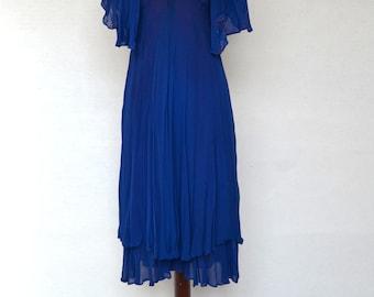 Blue Layered CHIFFON 1960's DRESS with CAPE