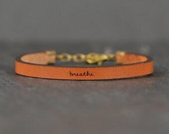 breathe bracelet | just breathe jewelry | leather bracelet | motivation bracelet | leather quotes | quote bracelet | laurel denise