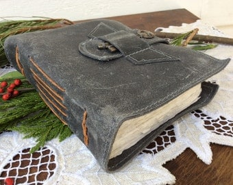 Distressed blue gray leather journal by Binding Bee