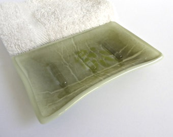 Fused Glass Soap Dish in Gray and Green Glass by BPRDesigns