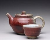 handmade tea set, ceramic teapot, teapot and cup with bright red and white glazes