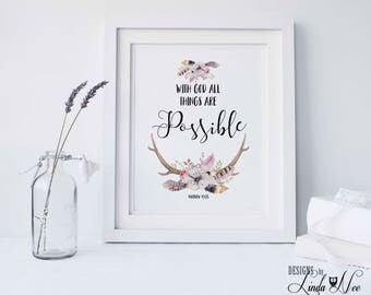 Matthew 19:26 With God all things are Possible ~ Printable Christian Wall Art, Scripture, Christian Floral Deer Boho Art, Watercolor CH30