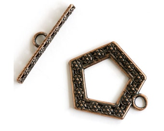 Floral Pentagon Copper Plated Toggle Clasp 43506 (1) Copper Jewelry Clasp, Flower Toggle Clasp, Necklace Toggle Clasp, Bracelet Toggle Clasp