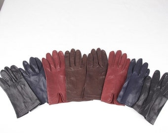 LOT 4 VINTAGE Italian Soft NAPPA leather gloves black, burgundy, blue, brown qs
