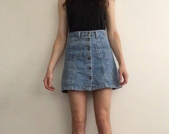 1970s Denim Button Front Aline Skirt with Pockets Small