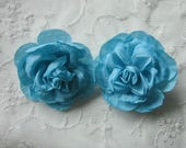 2pc TURQUOISE Cabbage Rose Fabric Flower Applique Crinkle Victorian Hat Corsage