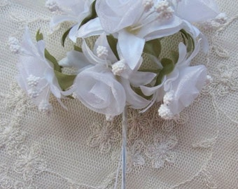 18 pc Rosette Rose Wired Flowers WHITE Organza Satin Ribbon w Pips Bridal Bouquet Hair Bow Accessory
