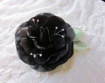 4.5 Inch Rhinestone Beaded Wired Black Rose Flower w Leaf Bridal Bouquet Hair Accessory Pin