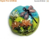 ON SALE 50% OFF Purple Dragonfly Orange Flora Focal Bead 11816902 - Handmade Glass Lampwork Bead