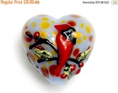 ON SALE 50% OFF Autumn Red Cardinal Heart Focal Bead -11834605-Handmade Glass Lampwork Bead