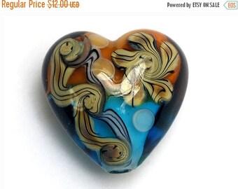 ON SALE 35% OFF Light Brown w/Blue Free Style Heart Focal Bead - Handmade Glass Lampwork Bead 11806305