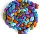 Bluefaced Leicester/ Tussah Silk Roving (Top) - Handpainted Spinning or Felting Fiber, Laundry Pile