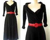 80s Black Jersey Dress / Full Skirt Black Cotton Jersey Dress / French Belle Dress