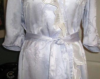 Item #152/Vintage Inspired Summer Bathrobe/Cotton Lavender Damask/Size 12/14/ Finished and Ready To Ship