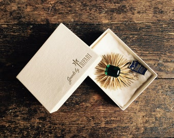 Large Trifari Starburst w Emerald Green Glass Rectangular Faceted Glass Pin Brooch Original Box Hang Tag Majestic Vogue Piece Gold Tone MCM