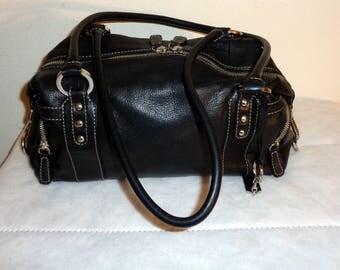 Vintage genuine butter soft black leather Boston bag, doctors bag, satchel , dual strap work bag,  classic  style purse multi pockets