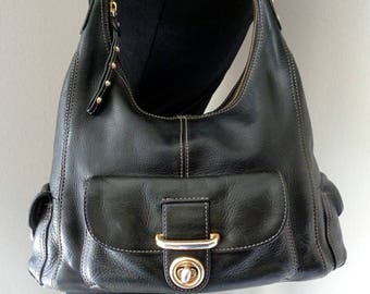 Scarlett Blake hobo  purse with single  strap top zip shoulder bag, in thick oiley pebbled black leather vintage  early 90s
