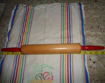 Antique For Baking Vintage Kitchenalia Wood Rolling Pin with RED/Handle