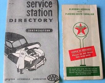 Vintage Texaco Map and Vintage AAA Service Station Directory Vintage Ephemera 1940's