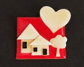 Reserved for KLA ... Vintage LUCINDA 'H0ME Is Where HEART Is' c. 1990s ~ Red Ivory Black ~ Pin FiNE