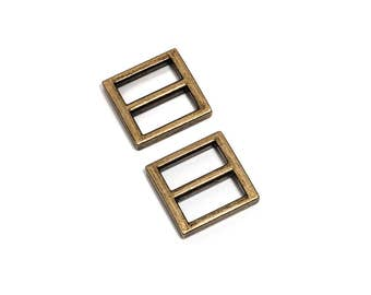 "100pcs - 3/4"" (20mm) Flat Diecast Slide Buckle - Antique Brass - (FBK-106) - Free Shipping"