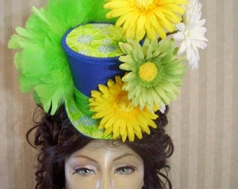 "Kentucky Derby Hat, Tea Party Mini Top Hat, ""DaiSy Hat"", Alice In Wonderland Mini Top Hat, Easter Hat, Steampunk Mini Top Hat"