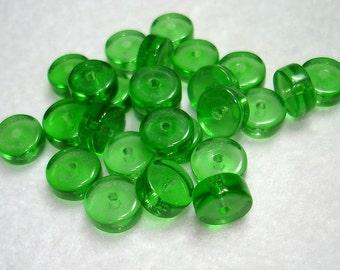Green Transparent Heishi Glass Beads (Qty 25) - B3227
