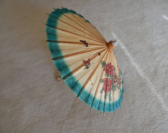 Rare Painted Paper Miniature Parasol - Figural Wood Handle - Vintage Parasol