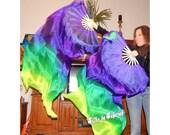 "Sahariah's Silk Belly Dance ""ORIGINAL"" FANtasy Veils Oriental Fusion Fan Veils Set of 2 Fan Veils SALE"