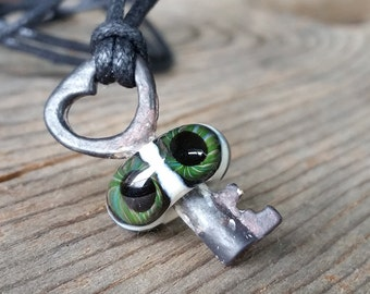 Green Heart Eyeball Skeleton Key