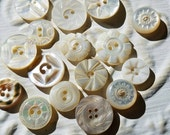 Vintage Buttons - Amazing mother of pearl, 17 small size assorted carved  designs,  some Victorian(feb 140 17)