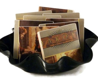 Dakota handcrafted wood coasters from recycled record album with warped vinyl bowl
