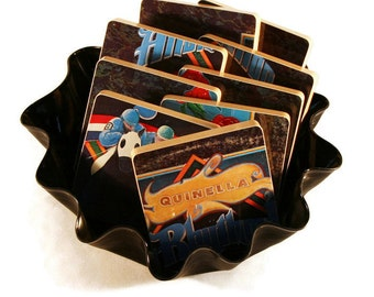 Atlanta Rhythm Section 9 handcrafted wood coasters from recycled Quinella album cover plus vinyl record bowl