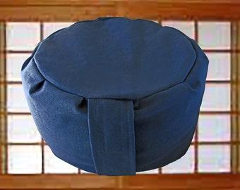 Blue Meditation Cushion, Zafu with Buckwheat Hulls