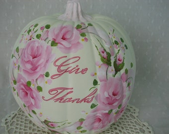 Thanksgiving Ivory Pumpkin Hand Painted Pink Roses Fall Autumn Decor