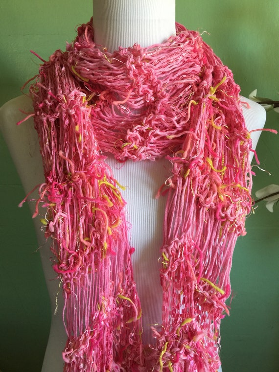 Hand Knit Ladies Fashion Accessory Scarf with Pink and Ribbon Shimmer