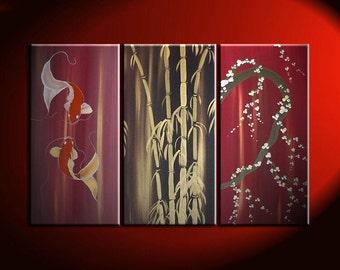 Beautiful Koi Fish Painting in Wine Reds Triptych Wall Art Bamboo Cherry Blossoms Custom 45x30